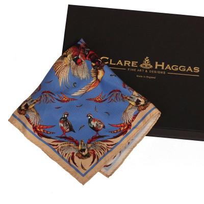 Clare Haggas High Flyer Blue Pocket Square